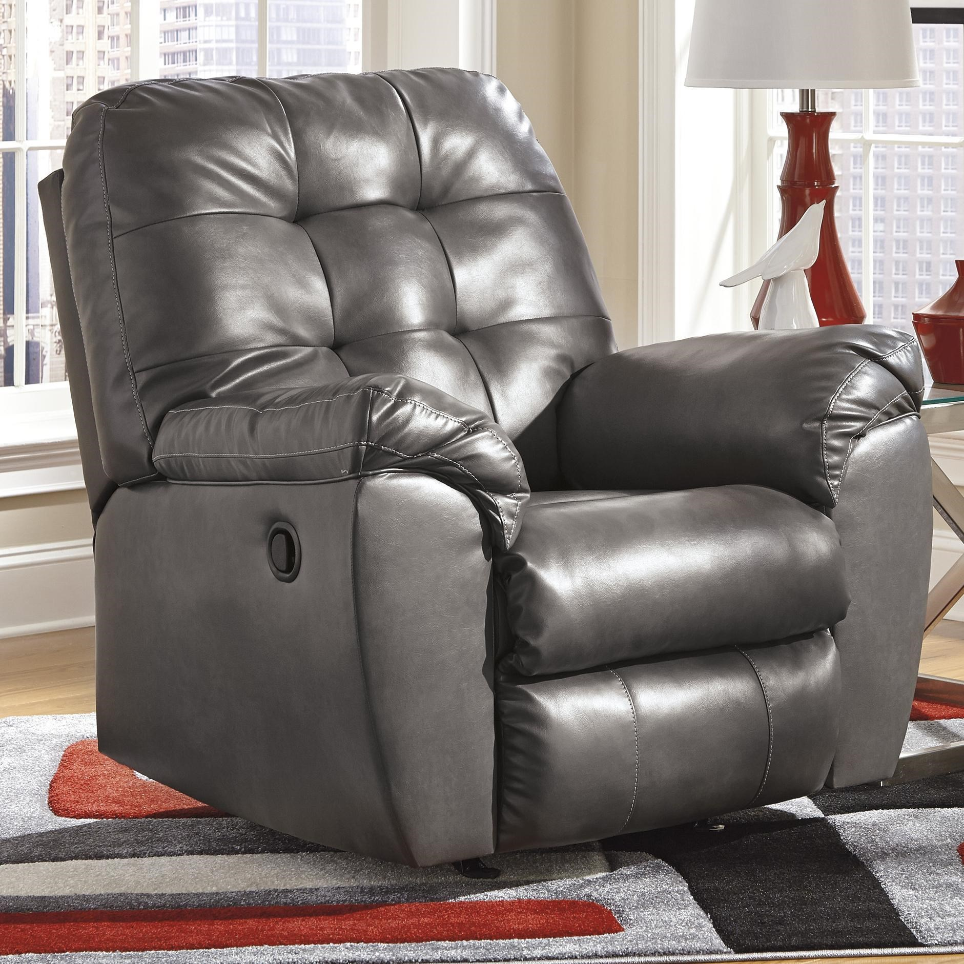 Recliner Pillow Maddox Gray Rocker Recliner W Pillow Arms By Signature Design By Ashley At John V Schultz Furniture